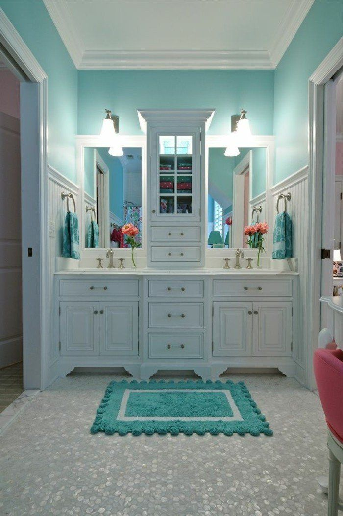 Les 25 meilleures id es de la cat gorie tapis turquoise for Tapis salle de bain bois