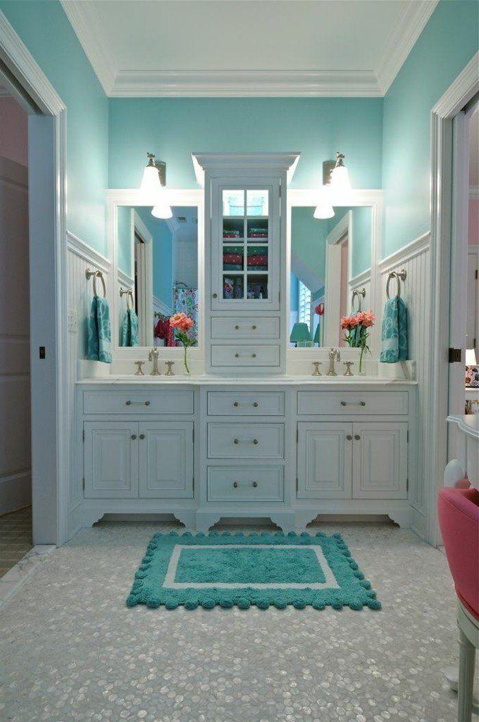 Les 25 meilleures id es de la cat gorie tapis turquoise - Tapis salle de bain bois ...
