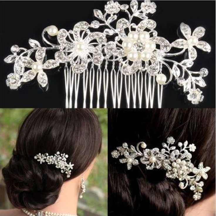 Bridal Flower Leaves Hair Comb Crystal Head Piece for Wedding Bridesmaid Bride Pearl Elegant Rhinestone Hair Accessories NXH1662