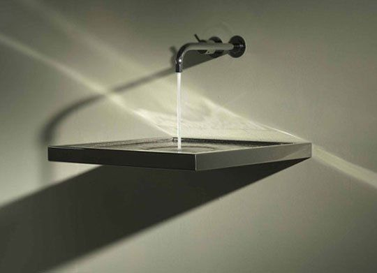 The Axolute // Bathroom sink with horizontal drain ; Horizontal Integrated Siphon Eliminates the Drain pipe