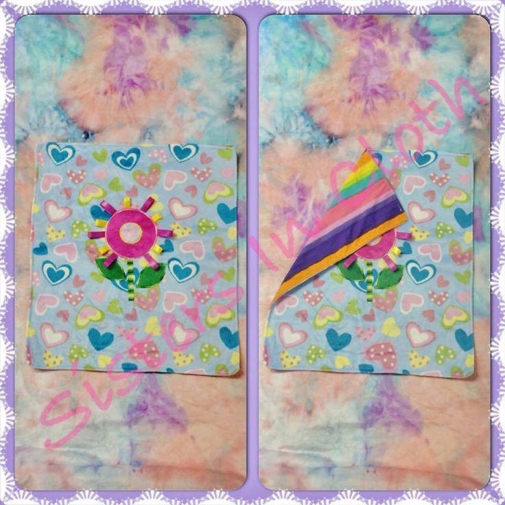 Handmade by Sisters In Cloth Small appliquéd cuddle blanket.