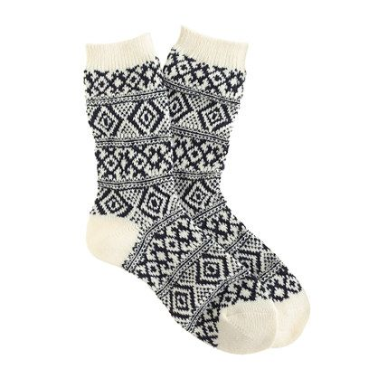 Fair Isle trouser socks white/navy | J. Crew