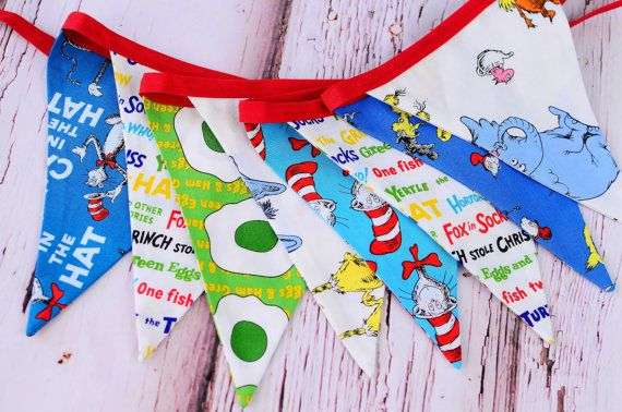 Dr. Seuss fabric bunting - banner - Dr. Seuss cake smash banner - Dr. Seuss birthday party decoration on Etsy, $23.88 CAD