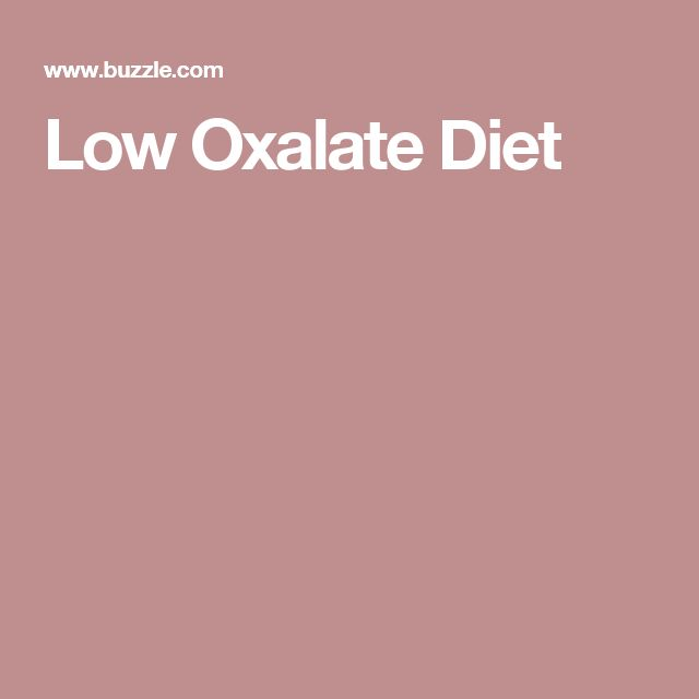 Low Oxalate Diet