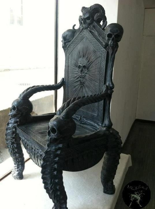 Black Gothic Throne Chair Fabric Scoop Dining Chairs Skull Furniture In 2019 Decor