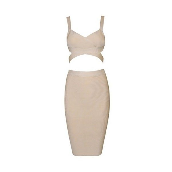 Night Moves Nude Sleeveless Cut Out Crop Top Bodycon Bandage Two Piece... ($128) ❤ liked on Polyvore featuring dresses, pink dress, pink midi dress, two piece bodycon dress, pink bodycon dress and pink cocktail dress