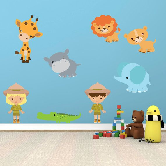 People With Zoo Animal Wall Stickers Jungle Wall by Mirrorin