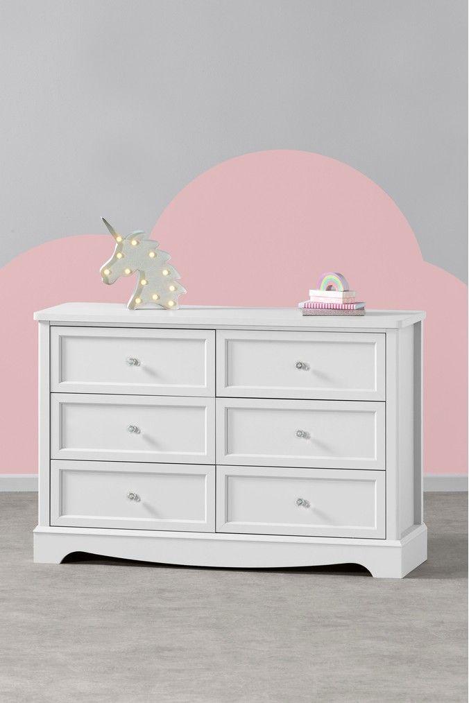 Best Girls Next Amelia Wide 6 Drawer Chest White Mattress 640 x 480
