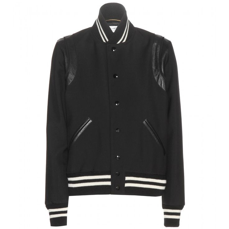 Saint Laurent - Wool bomber jacket - Saint Laurent's bomber jacket is accented with tonal leather detailing and features ribbed stripes to the collar, cuffs and hem. Layer yours over a dress or style it with skinny jeans. seen @ www.mytheresa.com