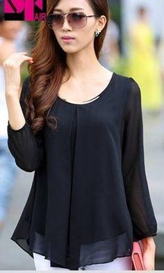 Korean Fashion Women's Loose Chiffon Tops Long Sleeve Shirt Casual Blouse
