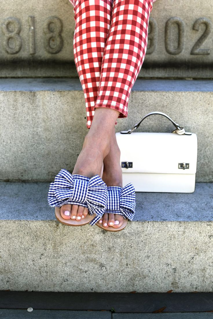 Gingham + striped bow.