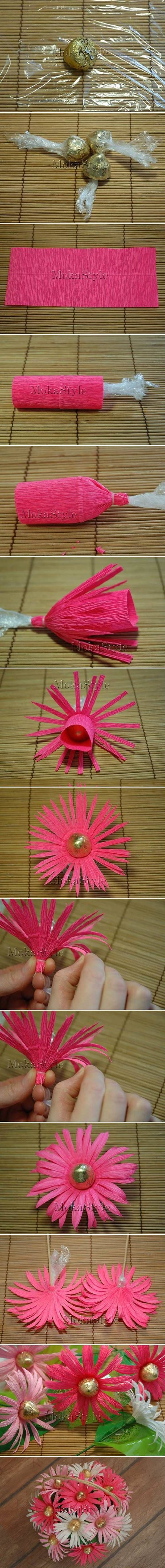 How to Make Chocolate Gerbera Flower Bouquet #craft #paper_flower