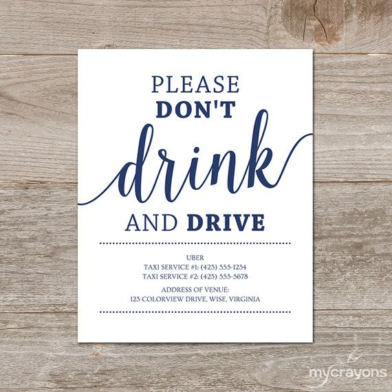 { Wedding Bar Sign } This editable Please Dont Drink and Drive sign will enable you to provide your guests with local taxi information to help them get home safely after your fabulous event. Put one on display near the bar and/or around your reception venue. Ideal for adding those last minute touches to your navy wedding decor! ....Format: Editable PDF Templates ....Sizes: 8x10 and 5x7 inches ....Colors: Navy/White ....Delivery: Instant Download  PDFs included: • 5x7 - 2 cards per 8...