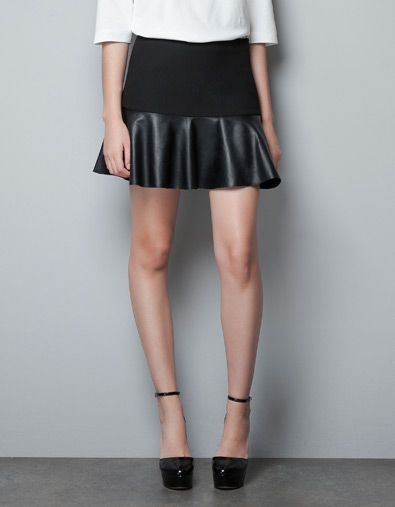 MINI SKIRT WITH LEATHER FRILL - Skirts - Woman - ZARA United States