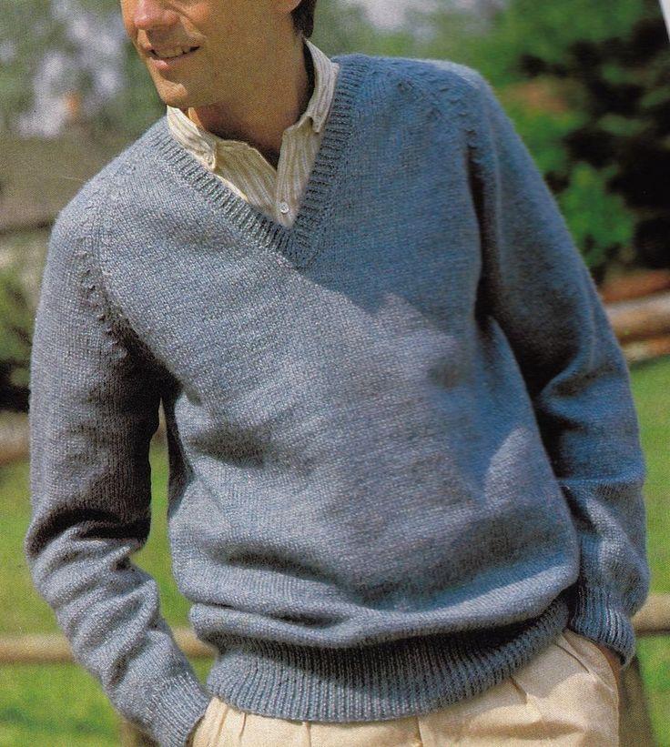 Vintage Knitting Pattern Instructions For A Mens V Neck