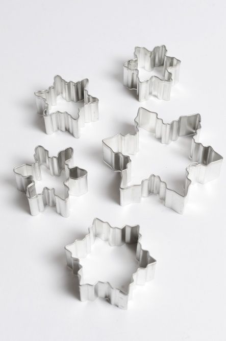 These beautiful Snowflake Cookie Cutters come in a lovely tin to keep        them safe all year round. Use them for cookies, mince pie pastry tops or        to decorate your Christmas cake with snowflake icing.                 The set contains: