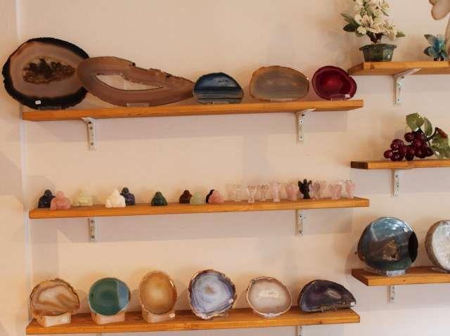 Foto's edelstenen en mineralen winkel