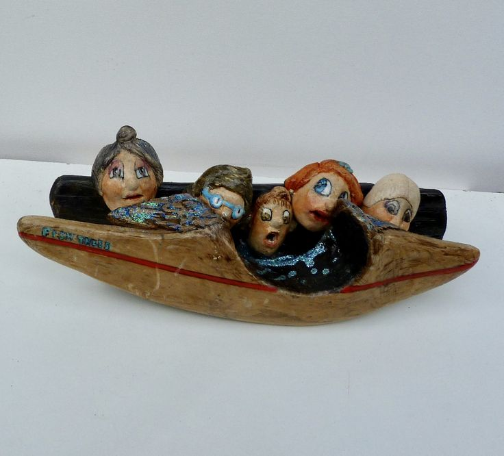 Driftwood and ceramic sculptures by dorienne one of each only. Title Don't rock the boat