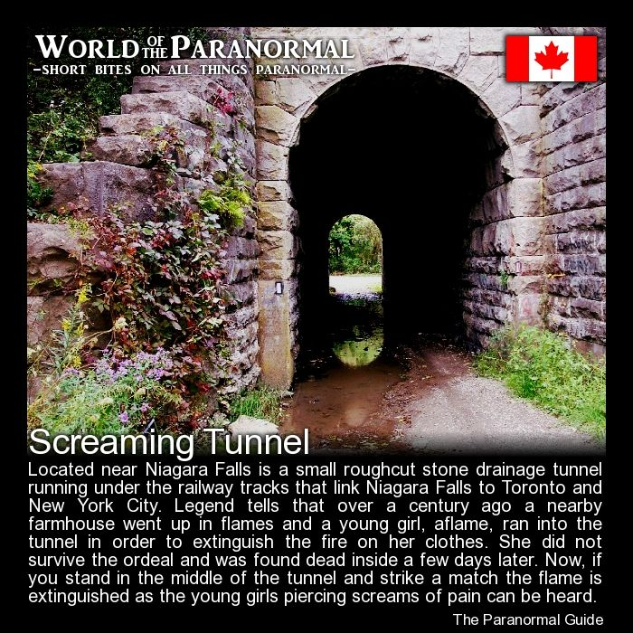 Screaming Tunnel   - Niagara Falls, Ontario, Canada   - (Other versions state the girl was killed and burned by her father in the tunnel after losing custody of her in a divorce battle or that she was raped, killed and set afire in attempts to hide the evidence.)   - 'World of the Paranormal' are short bite sized posts covering paranormal locations, events, personalities and objects from all across the globe.   Follow The Paranormal Guide at: www.theparanormalguide.com/blog