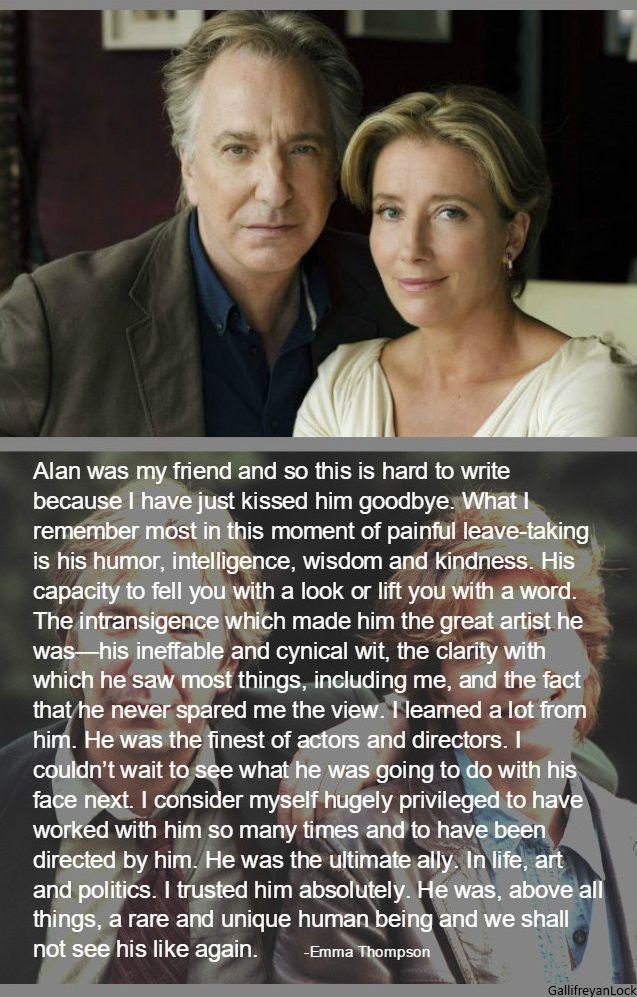 Emma Thompson's tribute to Alan Rickman