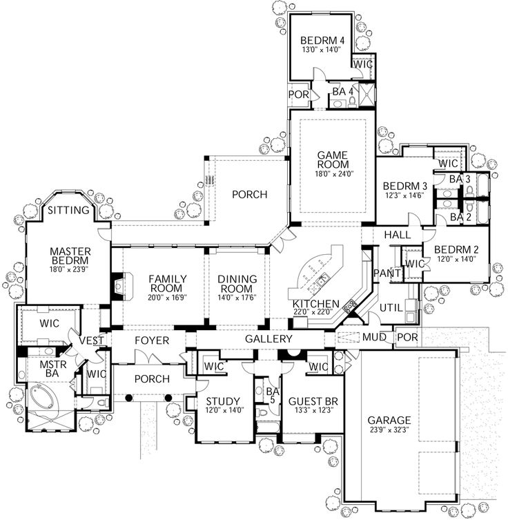 Mediterranean Style House Plan - 5 Beds 5 Baths 6104 Sq/Ft Plan #80-213 Floor Plan - Main Floor Plan - Houseplans.com