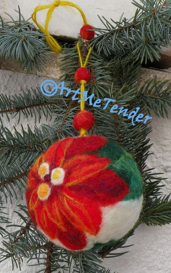 Christmas ornament,christmas gift, needle felted ball, christmas tree decoration,poinsettia and holly, rich colors, red, green, white,OOAK