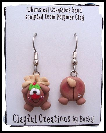Becky's Polymer Clay UhOh Reindeer Earrings por clayfulcreations