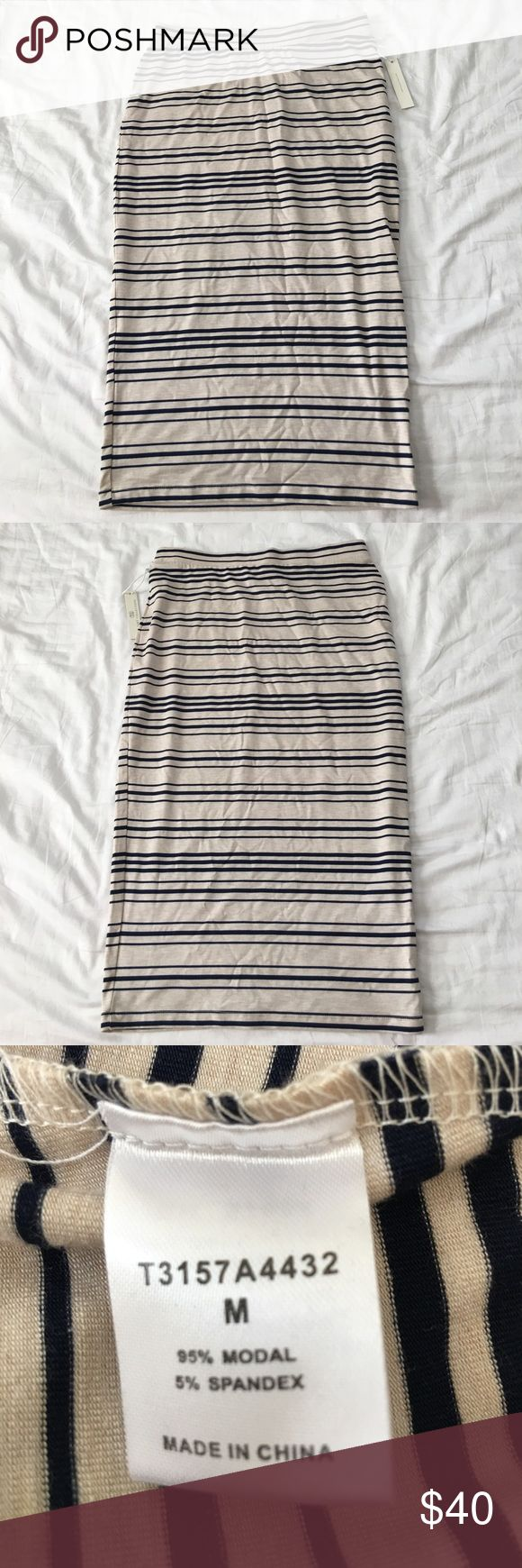 BNWT Tart Collection Blanche Pencil Skirt M BNWT, never worn, Tarte Collection Cream and Navy striped pencil skirt. Size Medium. Received from Stitch Fix box. Elastic waistband. 95% Modal 5% Spandex. Made in China. Tart Skirts Pencil