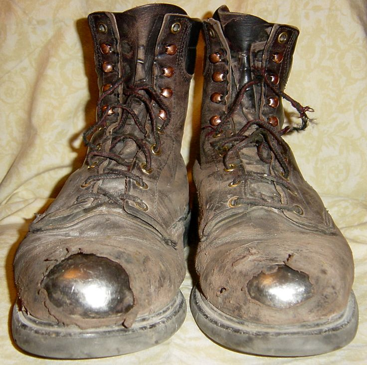 Tattered Old Work Boots: look familiar? Definitely broken in