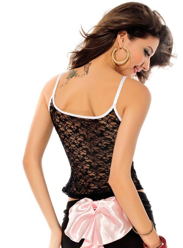 Pink Bow Separate Camisole Panty Bikini Set Black