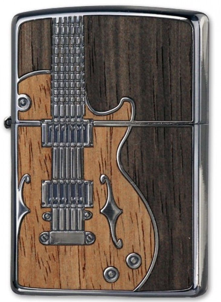 ZIPPO Lighter Wood Inlay Antique Guitar Silver Both Sides Etching Japan Model