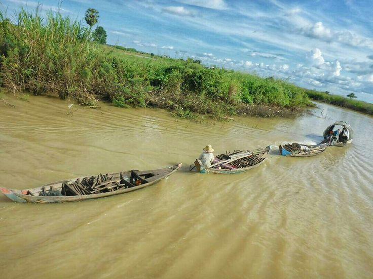 Auf dem Weg von Siem Reap  nach Battambang fahrt ihr über einen der Fischreichsten Gewässer dieser Erde. Hier ist ein Fischer gerade unterwegs.