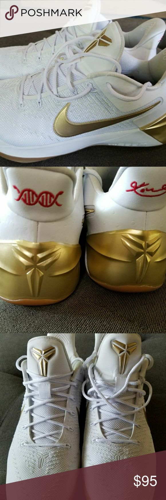 💣💥KOBE BRYANT A.D. White/Gold Edition💥With Box Really sick looking Kobe's. Worn maybe 5 times, twice on the court. Scuffed a little on the outside toe area (shown in pics). Really high end look and feel. $160 brand new and hard to find. Nike Shoes Sneakers