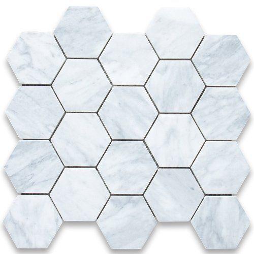 Carrara White Italian Carrera Marble Hexagon Mosaic Tile 3 inch Honed Stone Center Online,http://www.amazon.com/dp/B006XDT2R0/ref=cm_sw_r_pi_dp_iFLjtb1XSAX5Y9KN amazon