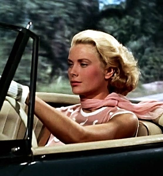 Grace Kelly loved to drive fast even in real life. Here she is in 'To Catch A Thief', on the French Riviera; where she later crashed and died.