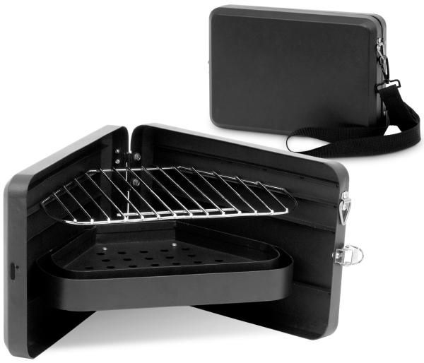 Designed to look like a briefcase from the outside, this portable grill opens up to form a triangular platform for the grate and ash pan, yet still offers enough room to cook 3-4 burgers at a time.