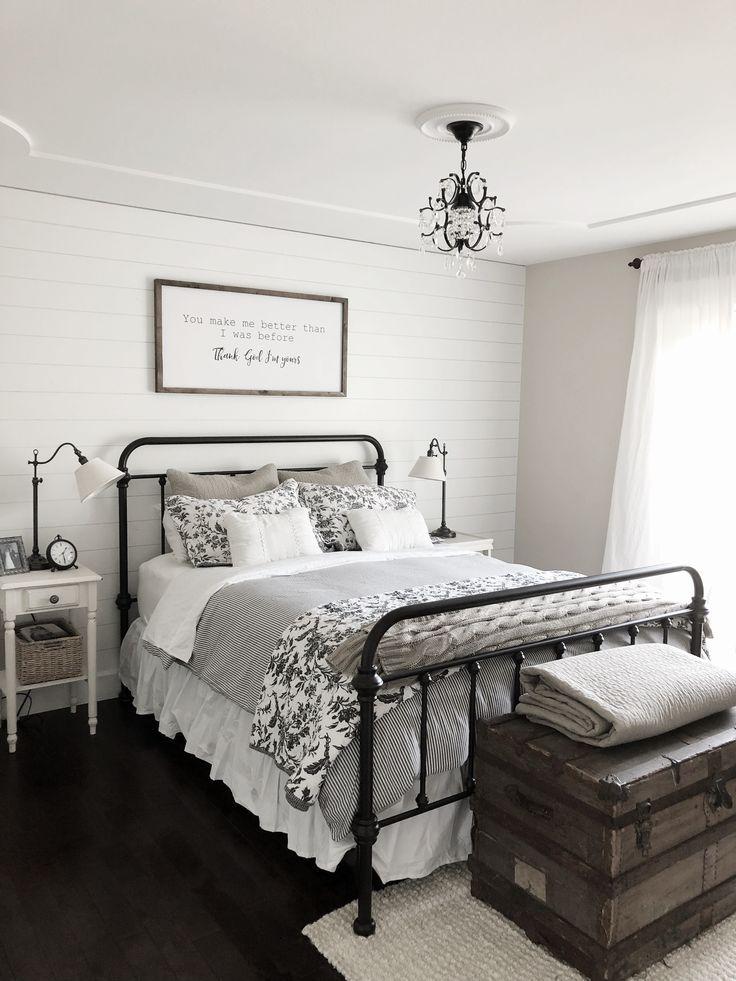 Modern Farmhouse Bedroom Decor Shiplap Accent Wall Black Iron Bed