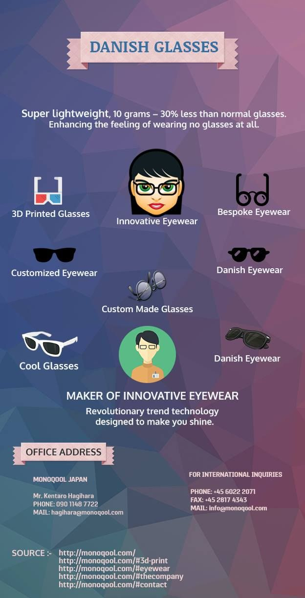 Try this wonderful design of Tailor Made Eyewear. This is a comfortable eyewear which is light in weight and easy to carry. You can also check some other like Innovative Glasses, Innovative Eyewear, Tailor Made Eyewear, Danish Glasses, Danish Eyewear, Cool Eyewear, Tailor Made glasses, 3D printed eyewear, Cool Glasses,3D Printed Glasses