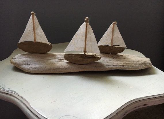 Driftwood Sailboats Race on Calm Waves // by Floatinteriors