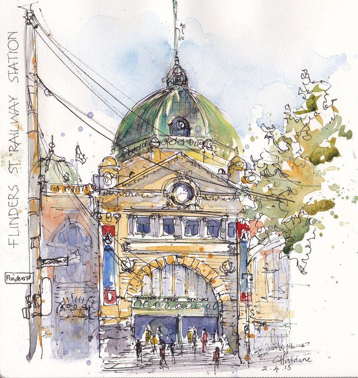 Finders St station, Melbourne by Chris Haldane #watercolor #urban #sketch