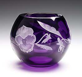 pansies by lise hoffman,lead crystal with sandblasting and diamond engraving