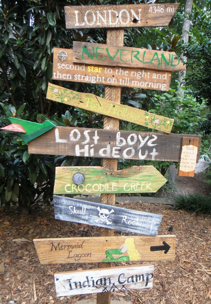 Customized Directional Sign Wooden Mile Marker Peter Pan Neverland for a…