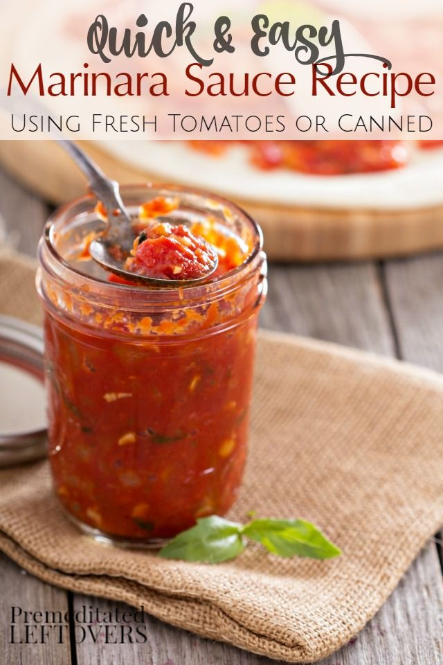 Quick and easy homemade marinara sauce recipe using fresh tomatoes and herbs or canned tomatoes and dried spices