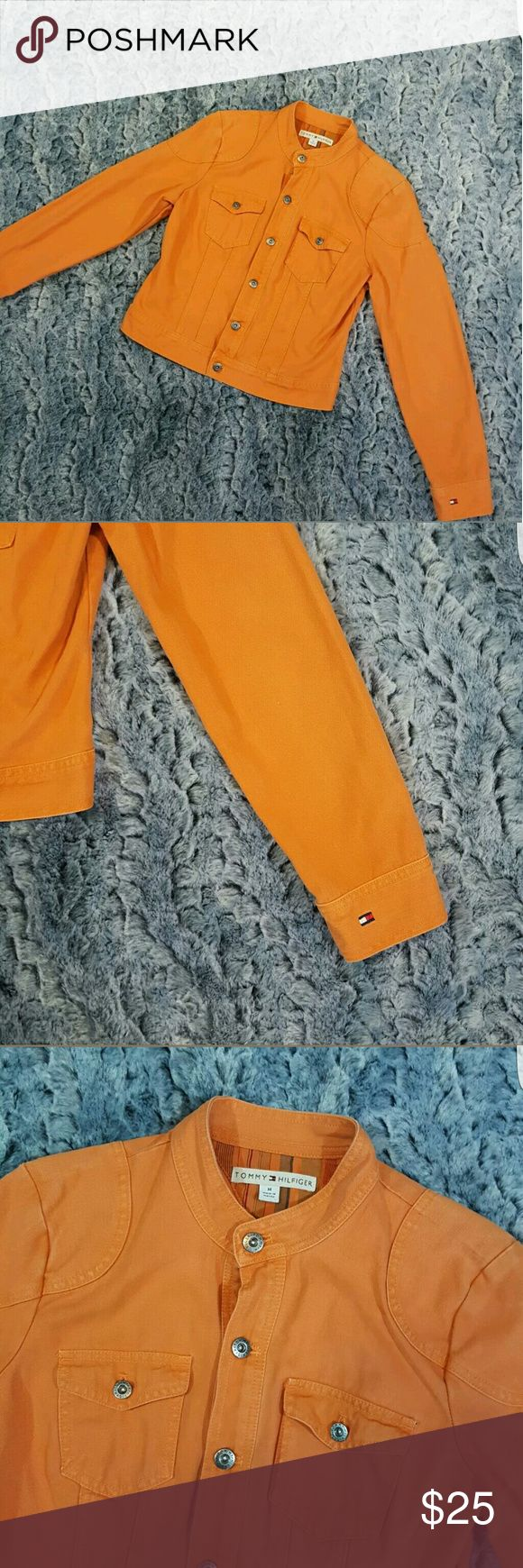 """Tommy Hilfiger Orange Jean Jacket Cropped Women's Tommy Hilfiger Orange Jean Jacket Button Down Cropped Size Medium  Measurements:  19"""" armpit to armpit  16.5"""" waist while laying flat  20"""" in length   G89 Tommy Hilfiger Jackets & Coats Jean Jackets"""