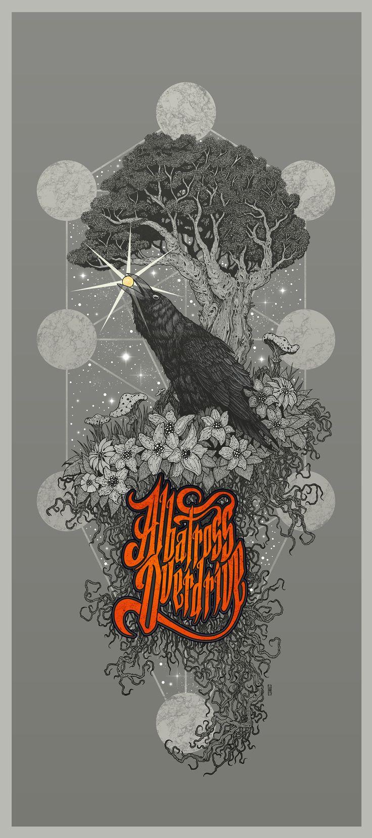 Albatross Overdrive (US) - band artwork -  monochrome version #stonerrock #posterartwork #raven #mihaimanescu #penandink #treeoflife #symbolism