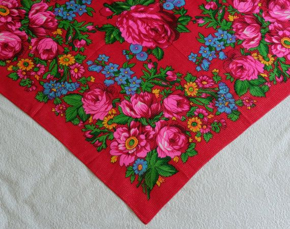 Red Floral Scarf vintage red Russian scarf with by MadeInTheUSSR