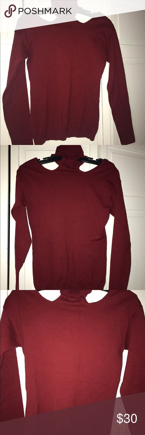 Victoria's Secret cold shoulder turtleneck size M Soooooooo sexy and beautiful! Worn once, excellent condition, zero flaws. Bought from Vicki secret website. Fits more like a small. Burgundy. Moda International Sweaters Cowl & Turtlenecks