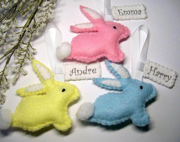 Gepersonaliseerde Pasen decoratie, voelde paashaas, Pasen gepersonaliseerde geschenken, konijn Ornament, Bunny decoraties