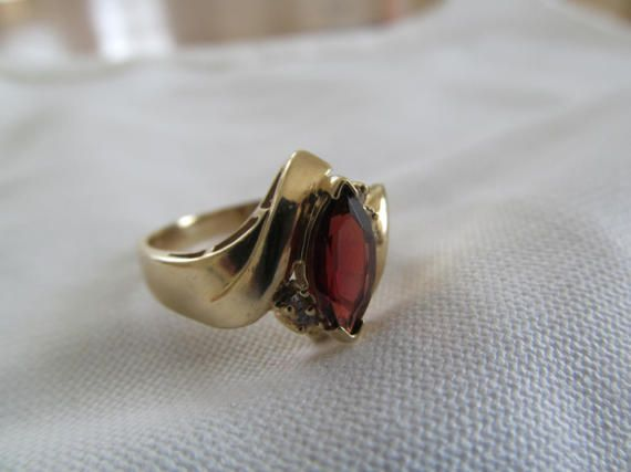 Garnet & Diamond Cocktail Ring  10k Yellow Gold - FREE SHIPPING