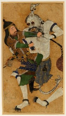 A Hero Fights A Demon.  An Image From The Shahnameh,  Or Persian Book Of Kings.
